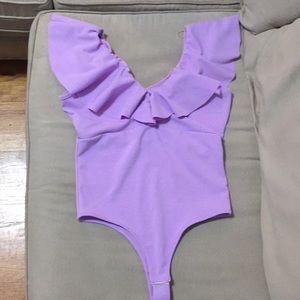 Lavender ruffle top bodysuit Medium Off shoulder